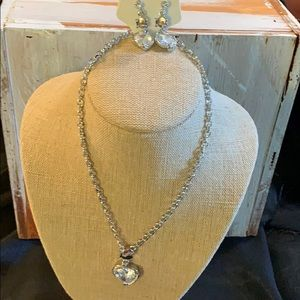 Classic White slanted heart earrings & Necklace